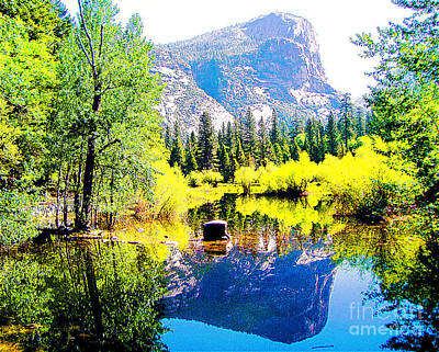 Vintage College Subway Signs Color - Mirror Lake Yosemite National Park by Jerome Stumphauzer