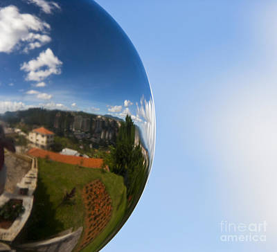 Mirrored Ball With Reflection Of Landscape Art Print by David Buffington