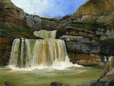Kosovo Painting - Mirusha Falls In Kosovo by Carlene Salazar