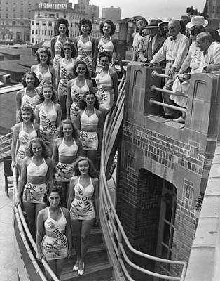 1940s Hairstyles Photograph - Miss America Contestants, In Two-piece by Everett