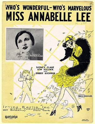 Old Sheet Music Photograph - Miss Annabelle Lee by Mel Thompson