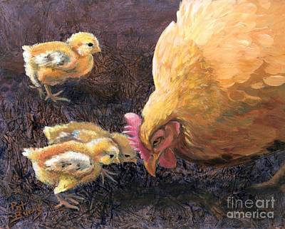 Art Print featuring the painting Miss Peck With Chicks by Pat Burns