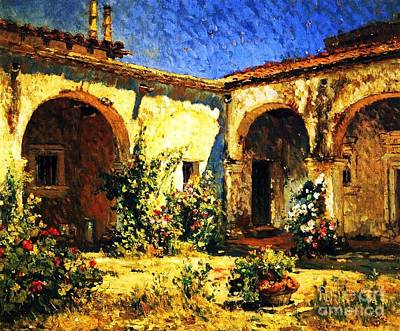 Painting - Mission Courtyard by Pg Reproductions