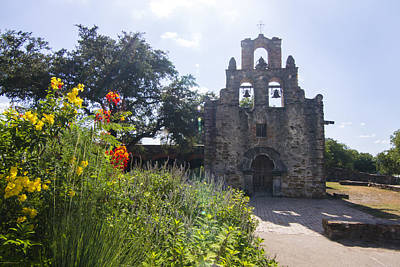 Nature Photograph - Mission Espada Under The Summer Sky by Ellie Teramoto