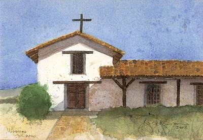 Spanish Mission Church Painting - Mission Salono De Sonoma by Jerry Grissom