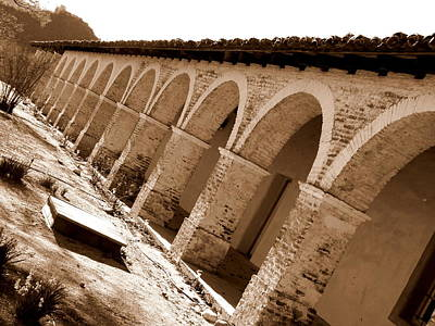 Photograph - Mission San Antonio De Padua Arches Sepia by Jeff Lowe
