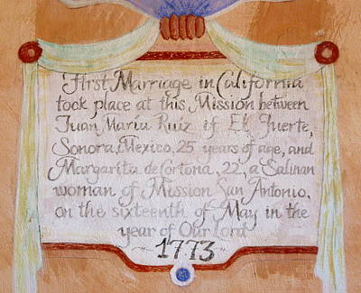 Photograph - Mission San Antonio Marriage Sign by Jeff Lowe