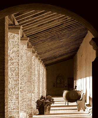 Photograph - Mission San Antonio Outdoor Hallway by Jeff Lowe