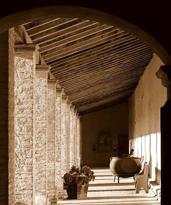 Photograph - Mission San Antonio Outdoor Hallway by Jeff Lowe