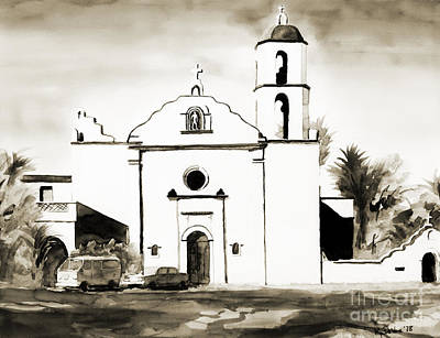 Bw Painting - Mission San Luis Rey Bw by Kip DeVore