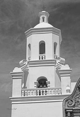 Southwest Church Photograph - Mission San Xavier Del Bac - Steeple Detail In Black And White by Suzanne Gaff