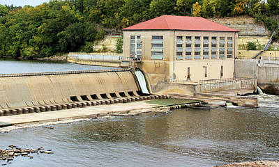 Red Roof Photograph - Mississippi Hydroelectric Dam by Kristin Elmquist