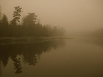 Photograph - Mississippi River Fog Antique by Kent Lorentzen