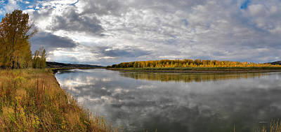 Missouri River Autumn Panoramic Art Print by Leland D Howard