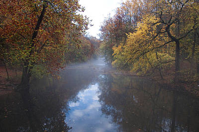Mist Along The Wissahickon Art Print by Bill Cannon