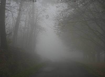 Opaque White Photograph - Mist Fog And The Road by Georgia Fowler