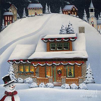 American Folk Art Painting - Mistletoe Cottage by Catherine Holman