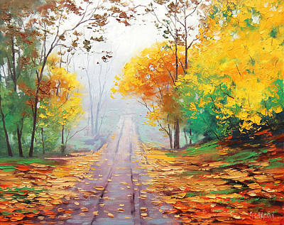 Forest Trail Painting - Misty Autumn Road by Graham Gercken