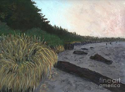 Misty Beach Art Print by Ginny Neece