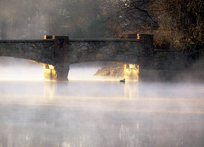 Misty Bridge Sunrise Art Print