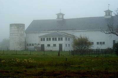 Misty Fall Morning At The Farm Art Print