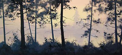Streams Painting - Misty Lake by Graham Gercken