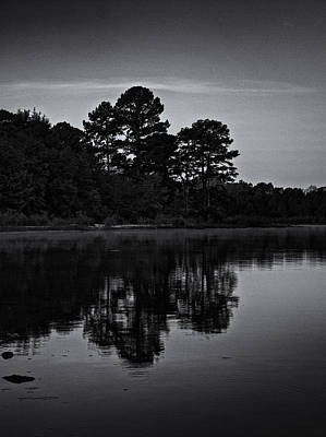 Photograph - Misty Lake In Black And White by Joshua House
