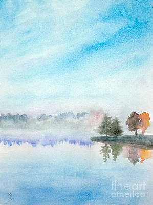 Misty Lake Art Print by Yoshiko Mishina