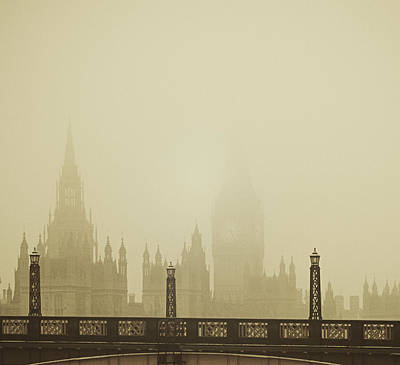 Santas Reindeers Royalty Free Images - Misty London skyline Royalty-Free Image by Lenny Carter