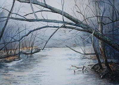 Art Print featuring the painting Misty Morning On The Red River by Patsy Sharpe