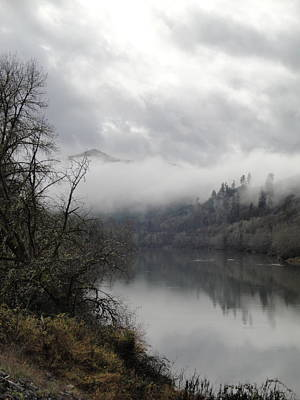 Misty River Drive Along The Umpqua Art Print by Alison Foster