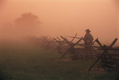 Misty View Of The Civil War Battlefield Print by Richard Nowitz
