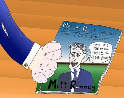 Financial Mixed Media - Mitt Romney Caricature by OptionsClick BlogArt