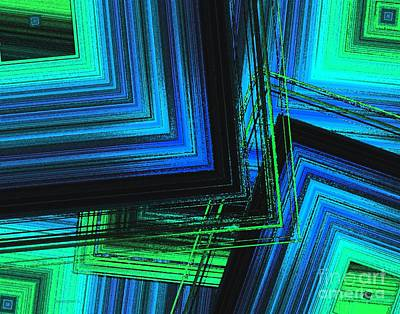 Abstract Design Digital Art - Mix In Blue And Green Art  by Mario Perez