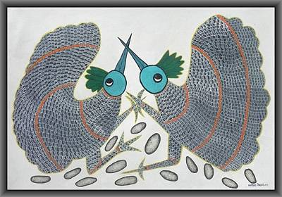 Gond Art Painting - Mkt 63  Birds by Manoj Tekam