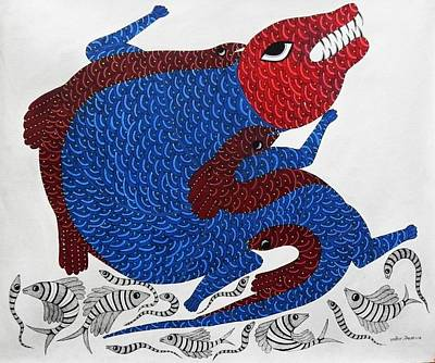 Gond Art Painting - Mkt 84 by Manoj Kumar Tekam
