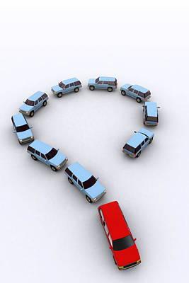 Traffic Congestion Photograph - Model Cars As A Question Mark, Artwork by Christian Darkin