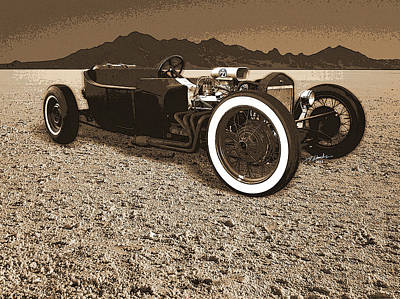 Model T On The Bonneville Salt Art Print by Tim Woods