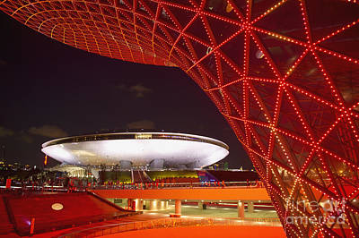 Expo Shanghai Photograph - Modern Buildings At Night by Dave & Les Jacobs