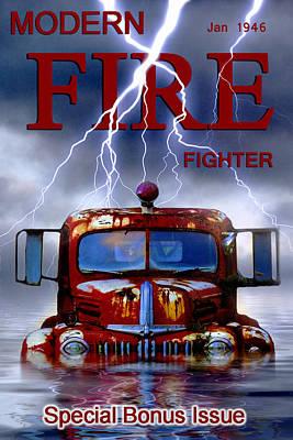 Modern Fire Fighter Art Print by Ron Jones