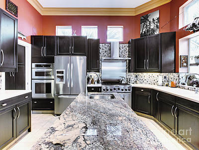 Marble Kitchen Counters Photograph - Modern Kitchen Interior by Skip Nall