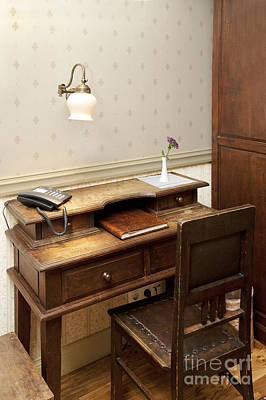 Ledger Books Photograph - Modern Phone On An Old Fashioned Desk by Jaak Nilson
