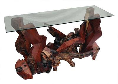 Sculpture - Modern Redwood Console Table With Glass Top Ds-19511 by Daryl Stokes