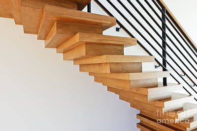 Modern Wood Staircase Art Print by Jeremy Woodhouse