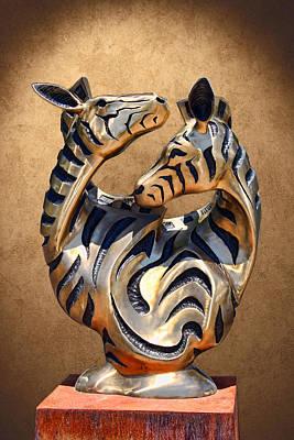 Modern Zebra Sculpture Art Print by Linda Phelps