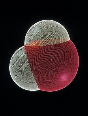 Molecular Graphic Of A Molecule Of Water Art Print