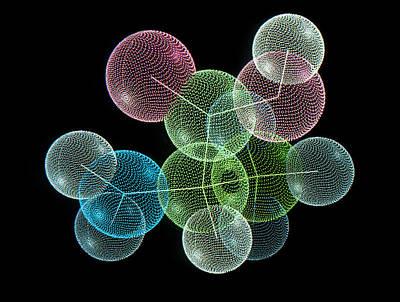 Molecular Graphic Photograph - Molecule Of Amino Acid, Alanine by Pasieka