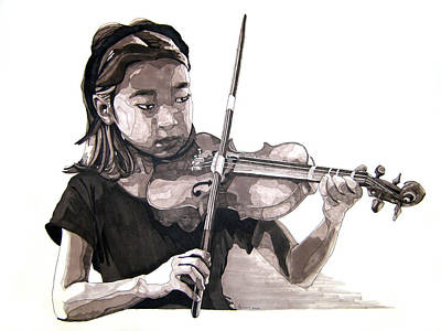 Grayscale Drawing - Molly And The Violin by Tyler Auman