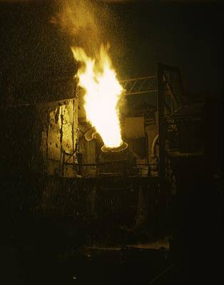 Mechanization Photograph - Molten Iron Is Blown In An Eastern by Everett