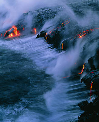 Molten Lava Flowing Into The Ocean Art Print by G. Brad Lewis